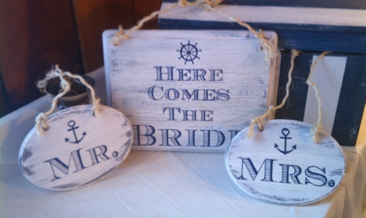 NAUTICAL Wedding Signs NAVY Wedding with ANCHOR Here Comes The Bride and Mr. & Mrs. Beach Wedding Signs. $67.95, via Etsy.