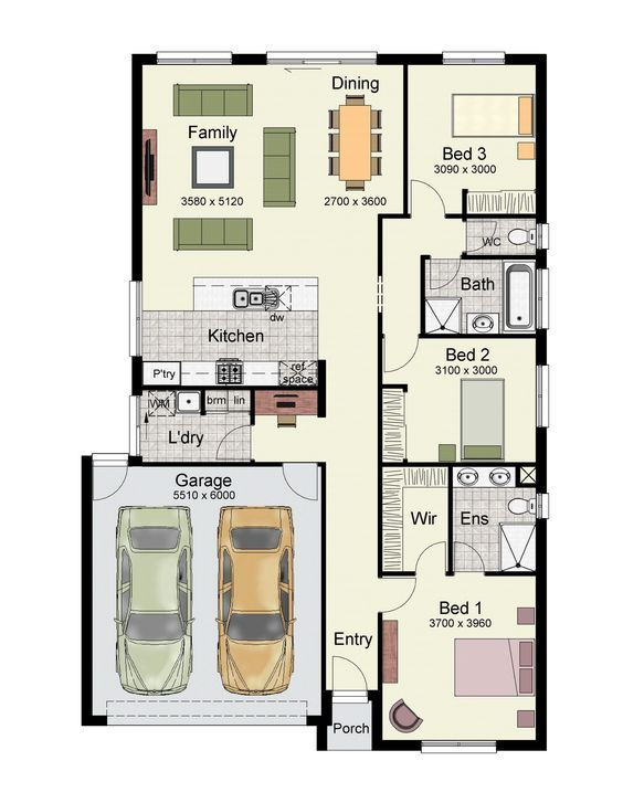 Single Story Home Floor Plan With 3 Bedrooms, Double