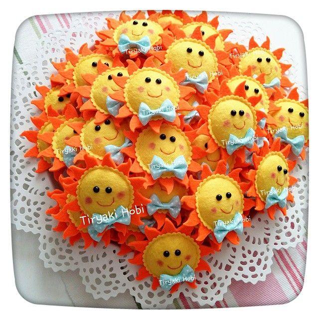 ♥ Tiryaki Hobi ♥: Keçe bebek şekeri / doğumgünü magneti - güneş (ALİ EGE) -----  felt suns