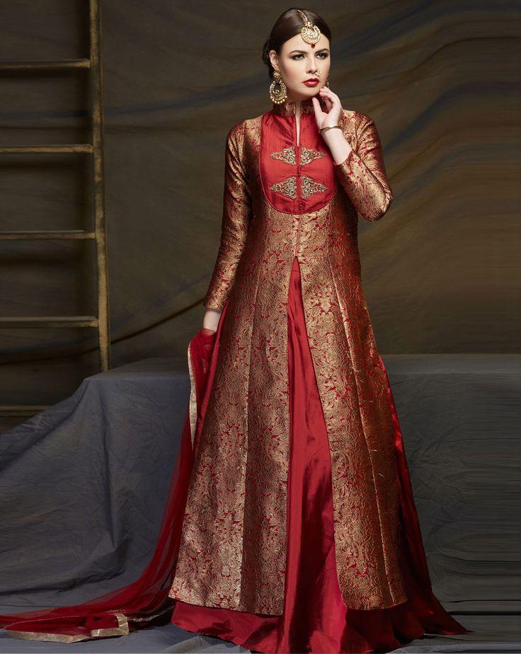 Red Dupion Silk Indo Western Lehenga Choli 79463