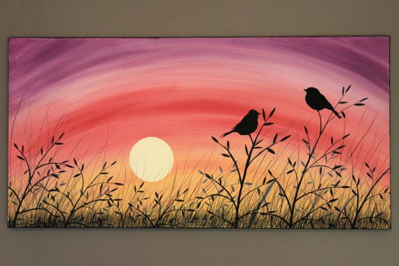 Original Abstract Acrylic Painting on Canvas A Brand New Day Love Birds Tall Grass Field Sunrise Sunset Summer Yellow Pink Purple Branch Sun...