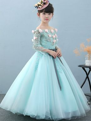 98042dde40892 Bow Printing Mesh Long Sleeves Long Full Dress | Saree | Kids gown ...