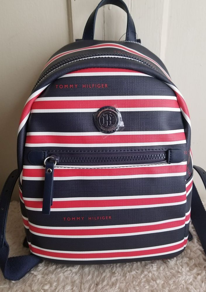 8d22aac5f907 TOMMY HILFIGER Womens Red White Blue Striped Backpack Purse ...
