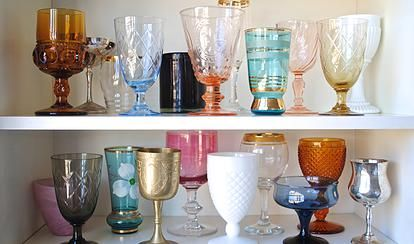 Vintage glassware for hire for weddings and events