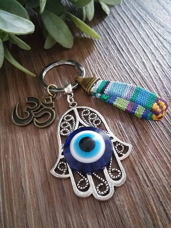 Llavero, hamsa, mano de Fatima, ojo turco, estilo etnico, om, yoga, diseño unico, regalo especial, llavero unisex, regalo para ella, metal