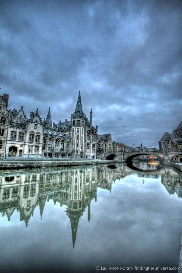 Reflections on the waterways in Ghent, Belgium.