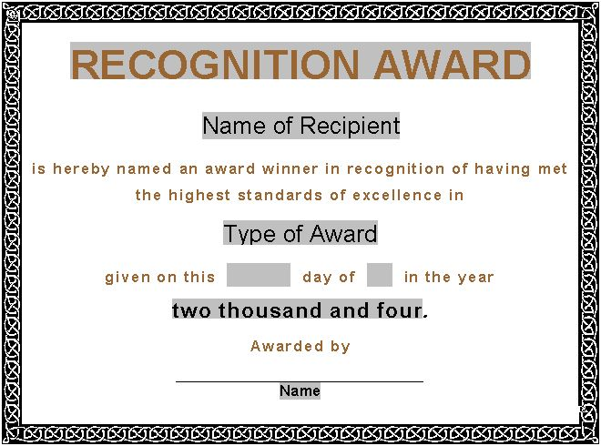 Sample Award Certificates Sample Certificate Of Recognition For