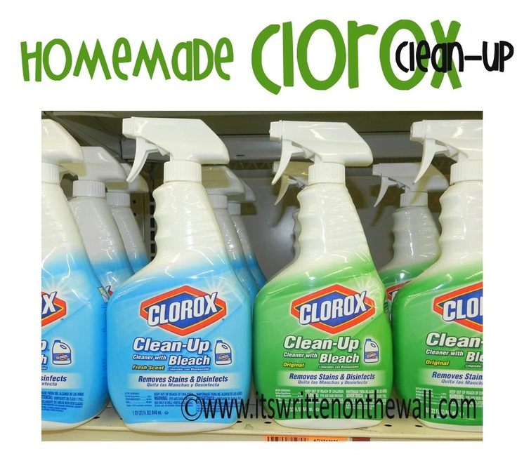 Recipe for Homemade Clorox-Save Money! Fake Clorox Cleanup 1 Empty and Rinsed-Out Bottle of Clorox Cleanup/Empty Plastic Spray Bottle 1/4 Cup Bleach 1 Teaspoon Laundry Detergent Fill the rest of the bottle with Water and Shake!