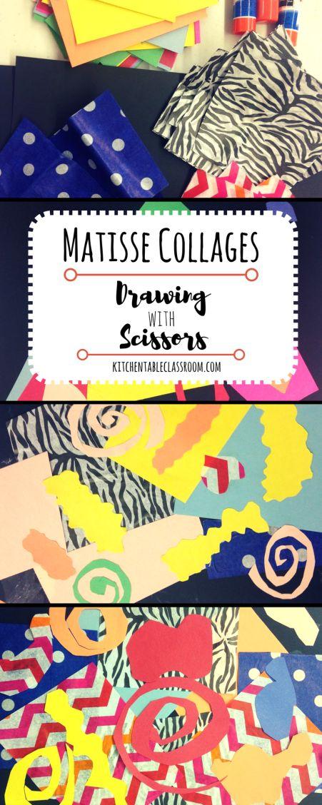 Matisse Collages -Drawing with Scissors  Practice those scissor skills and have some fun!