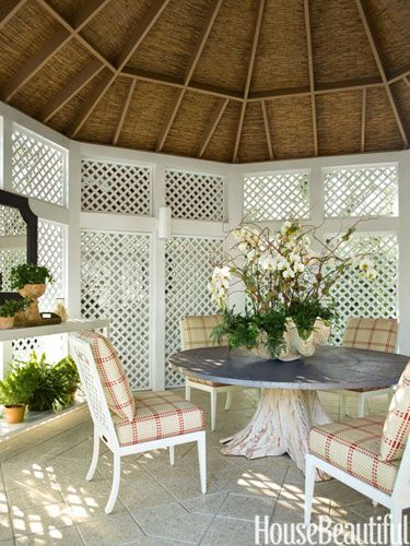Dining Pavilion ~ Carrier & Co. - An orchid greenhouse was converted into a dining pavilion with a root-base zinc-top table from Mecox Gardens.