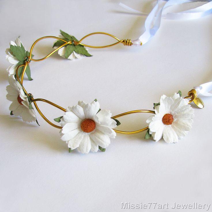 Orla White Daisy Flower Crown Bridal Headpiece