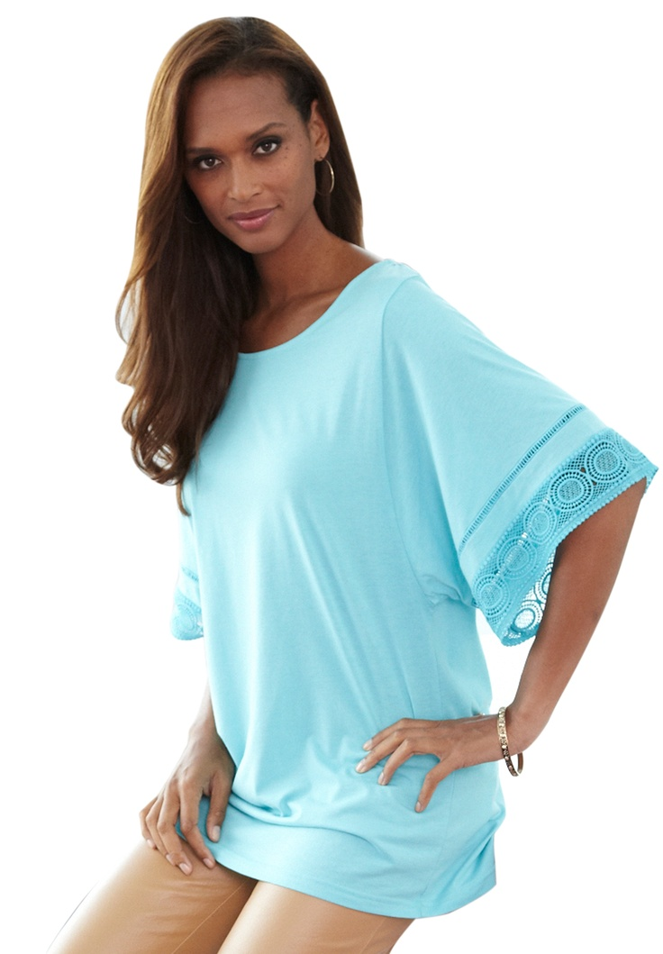 Batwing Top With Crochet Trim