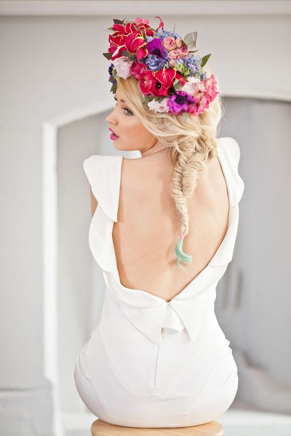 Vibrant floral crown and open back gown | Photo by Katy Lunsford Photography