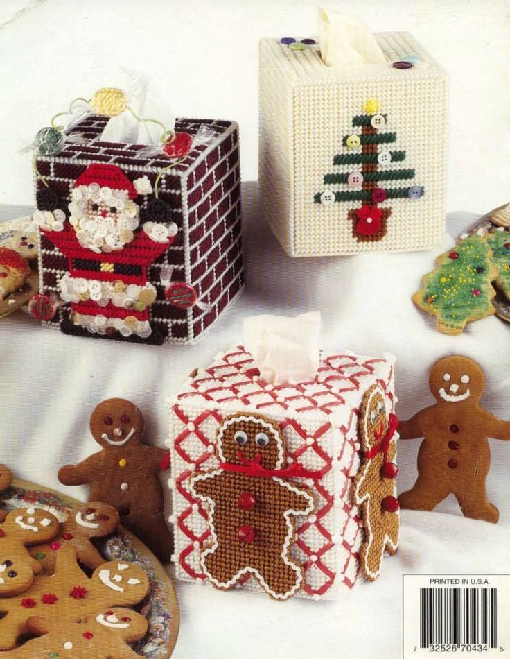 HAPPY HOLIDAY TISSUE COVERS - BACK COVER * GINGERBREAD MAN by JANNA BRITTON 1/2