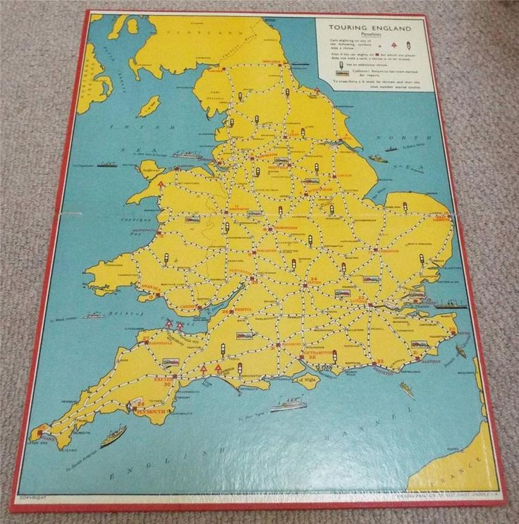 VINTAGE 1930's TOURING ENGLAND GAME BOARD - GEOGRAPHIA
