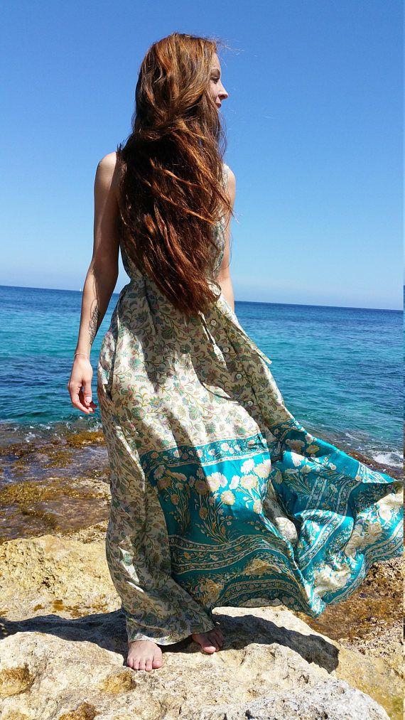 Silk fan print maxi dress