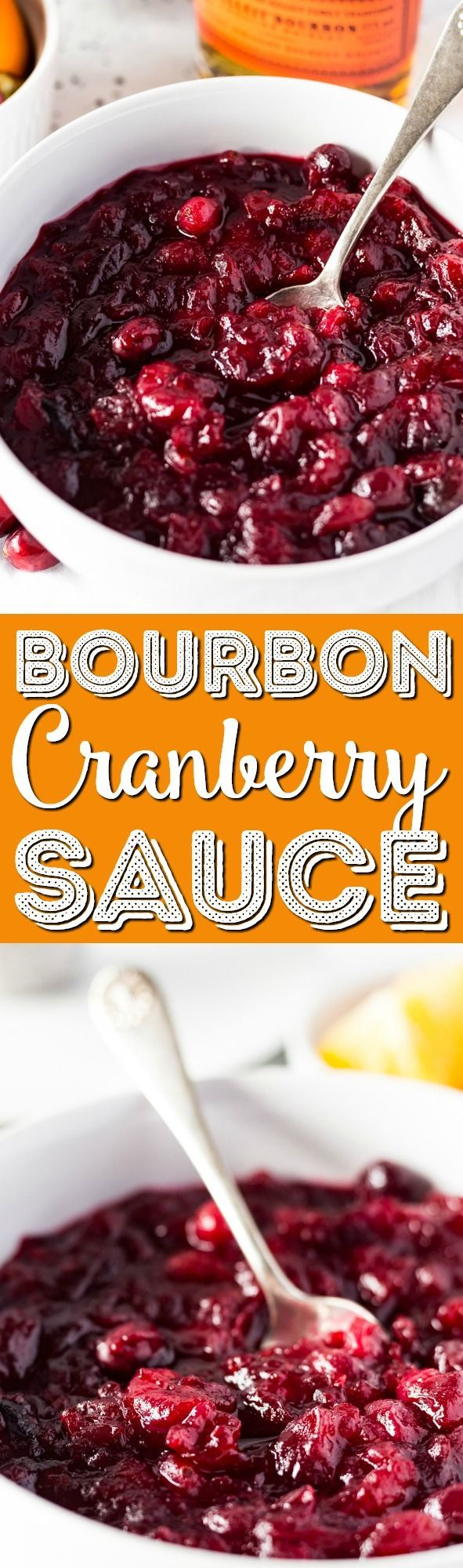 This Bourbon Orange Cranberry Sauce is loaded with tart and zesty flavor! Made with fresh cranberries, orange juice, orange zest, and bourbon on the stove and ready in less than 30 minutes. via @sugarandsoulco