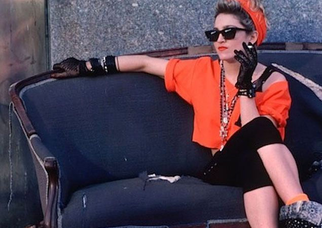 Oversized Tee Sunglasses Neon Hairband Colored Socks Gloves Large Necklace Madonna
