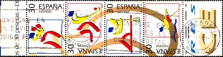 "Spain.  OLYMPIC VENUE TYPE OF 1994.  Scott A896 2822c BOXING, 2822g  FIELD HOCKEY, 2822h CANOEING, 2822""m SAILING. Issued 1995 June 2, Perf. 14, Photo., 30 each. /ldb."