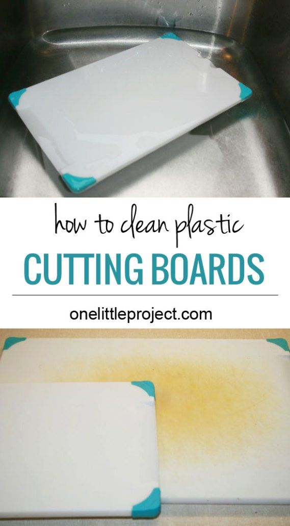 For plastic boards, Soak them for a half hour or so in a sink with about a 1/2 cup of bleach mixed with a gallon of hot water. When done soaking, wash them with regular dish soap or run them through a dishwasher cycle to remove the bleach. They will be sparkling white and thoroughly disinfected.