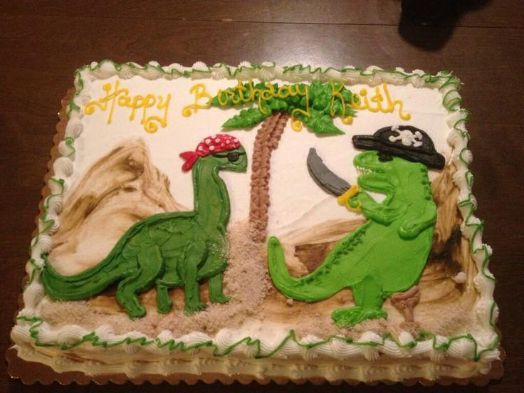 My 27th birthday cake (2013)- pirate dinosaurs from Stan's Northfield Bakery.