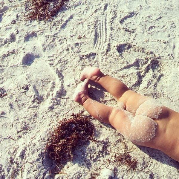 Sandy baby bum photography on the beach