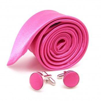 Boutons de manchette fushia et cravate slim fushia