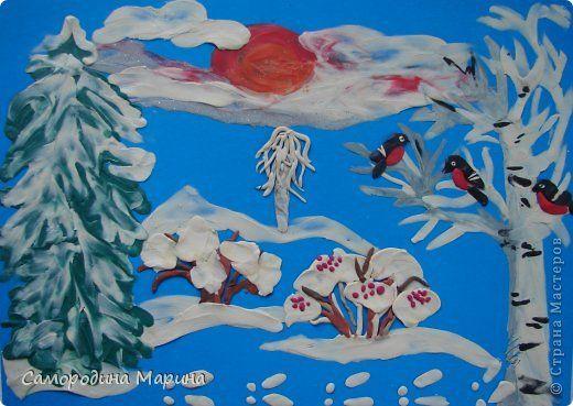 Картина панно рисунок Новый год Аппликация из пластилина + обратная Зимушка-зима ау Бумага Пластилин фото 1