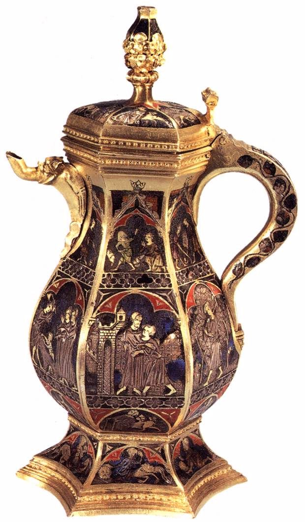 Ewer with scenes  1320s  Silver gilt and translucent enamel, height 22,5 cm  National Museum, Copenhagen