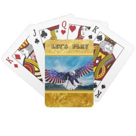 American flag Eagle flying in the sky gold foil tap/click to personalize or buy right now! a custom deck of cards #baldeagles #patrioticdesigns #Americanflag #4thOfJuly
