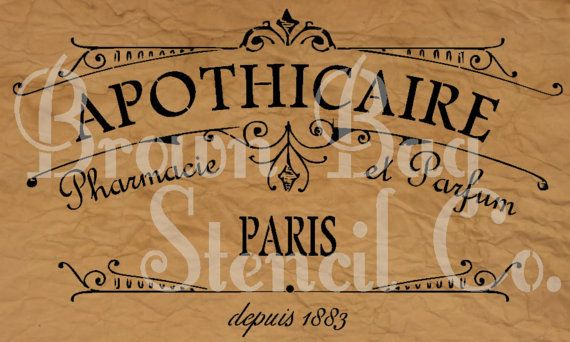 French Stencil  APOTHICAIRE  12x20 7.5 mil by BrownBagStencilCo