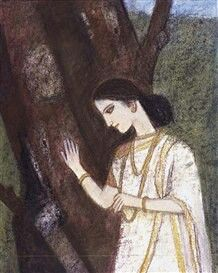 Women before then tree by Ganesh Pyne