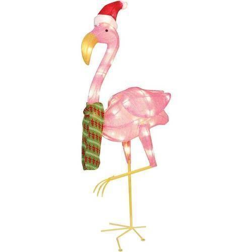 "Christmas Decoration 32"" Flamingo Clear Light Sculpture Outdoor Yard Decor NEW #1"