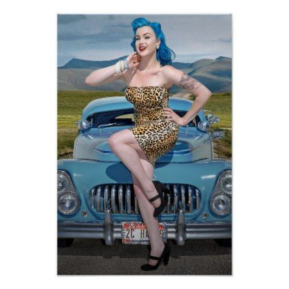 Jungle Jane Leopard Hot Rod Pin Up Car Girl Poster - girl gifts special unique diy gift idea