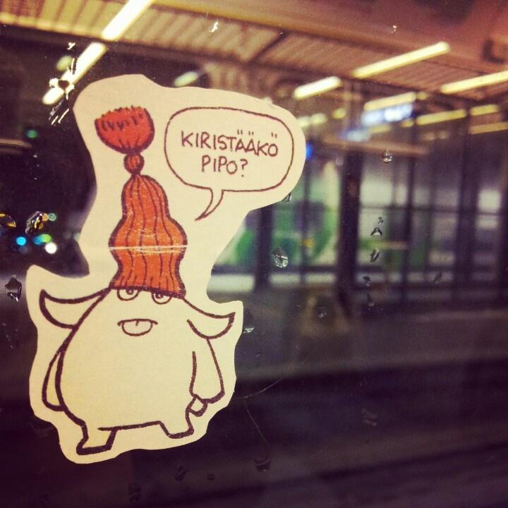Sticker art in train.