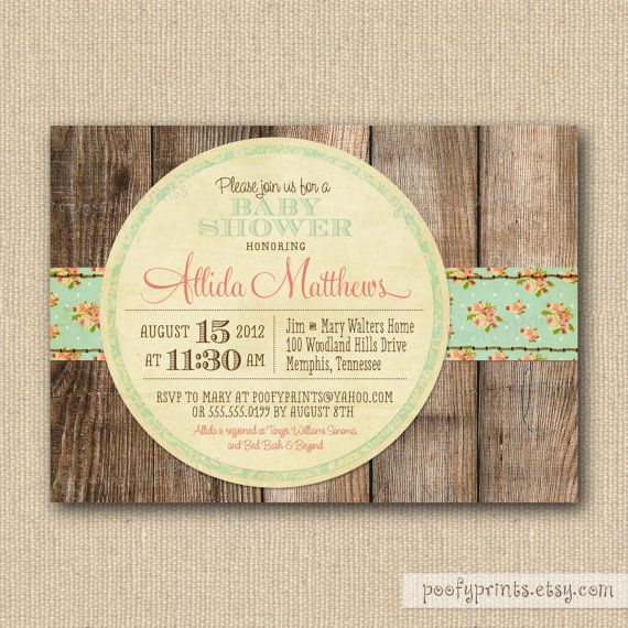 Rustic Shabby Chic Baby Shower Invitations
