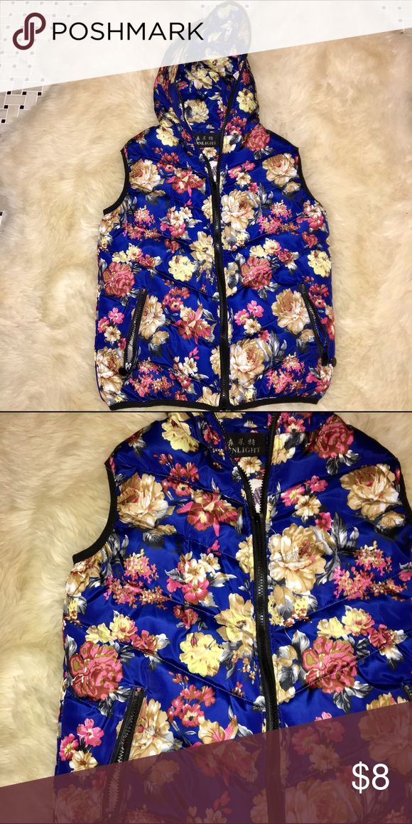Floral Vest! Cute vest for spring, Shnlight Brand. Never before worn. Puffer material. Shnlight Jackets & Coats Vests