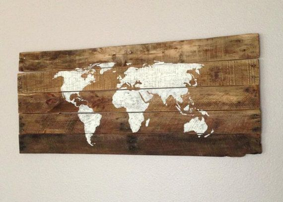 Repurposed Barn or Pallet Wood World Sign by 1920Shoppe on Etsy