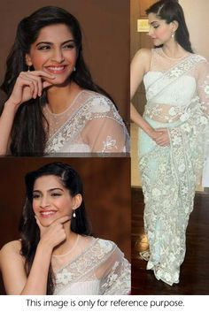 Bollywood Replica Sonam Kapoor Net Saree In Off White Colour 184 - Bollywood Sarees By Ninecolours MNINE59601371770 - buy Sarees online from Ninecolours at CraftsVilla.com