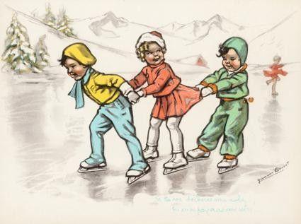 Humour - de Germaine Bouret <> (wintry, snow, illustrations, art, winter, children, ice)