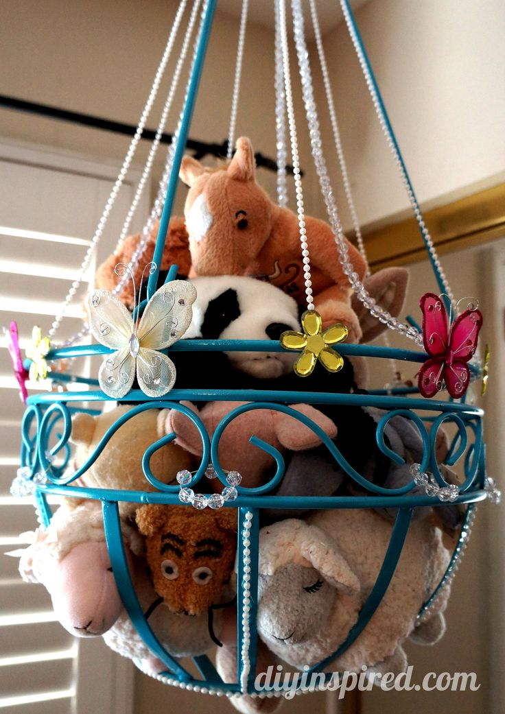 Stuffed Animal Toy Storage » DIY Inspired maybe I could do this with my 2 fruit hanger baskets.