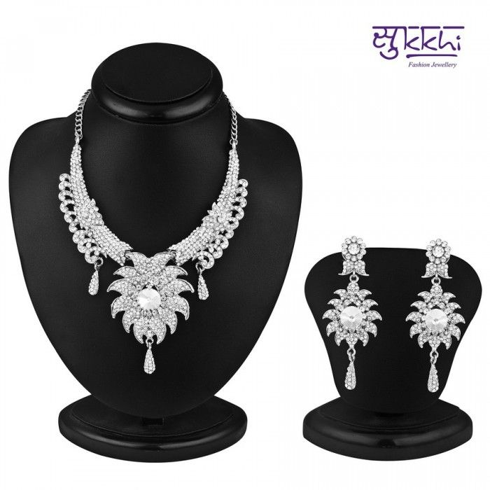 Ritzzy Rhodium Plated AD Stone Necklace Set | High5Store.com