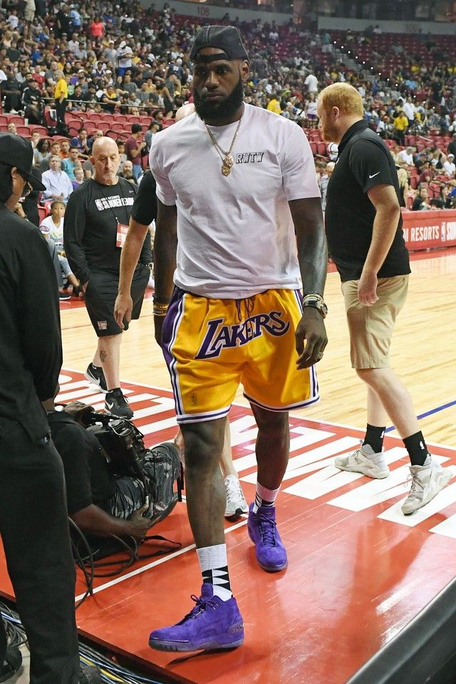 LeBron James wearing Just Don Lakers Shorts  fa2d58fb2a