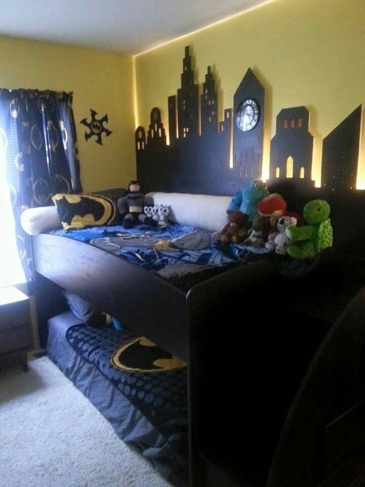 Gotham city super hero bedroom room pinterest bedrooms for City themed bedroom ideas