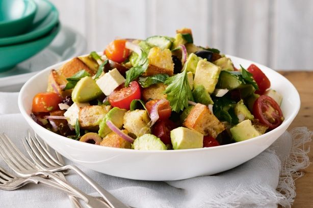 This high fibre salad is a vibrant mix of tomatoes, avocado and crunchy pieces of ciabatta.