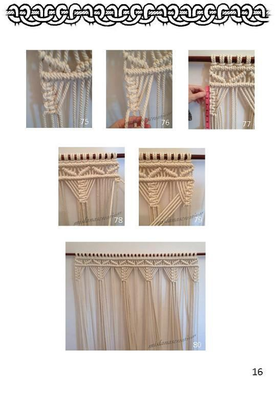 PDF Instructions Macrame Curtain.  via Craftsy