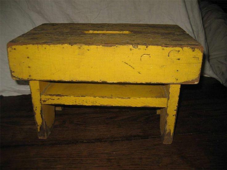 Antique Primitive Painted Child S Miniature Dresser: ANTIQUE PRIMITIVE WOOD STOOL FOOTSTOOL STEP BENCH OLD