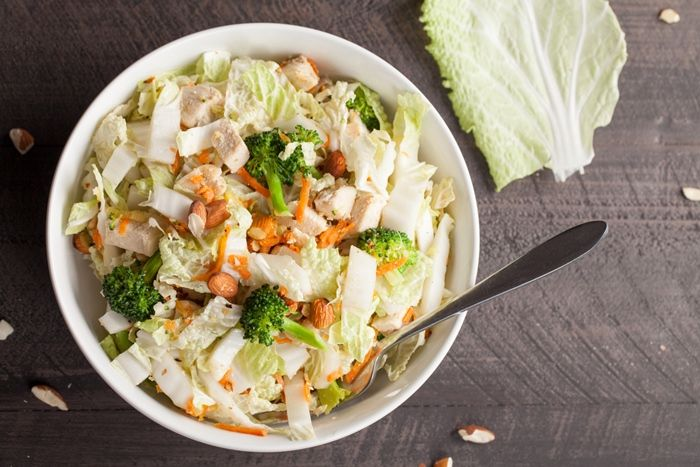5 min Low Calorie Broccoli Slaw with Honey Mustard