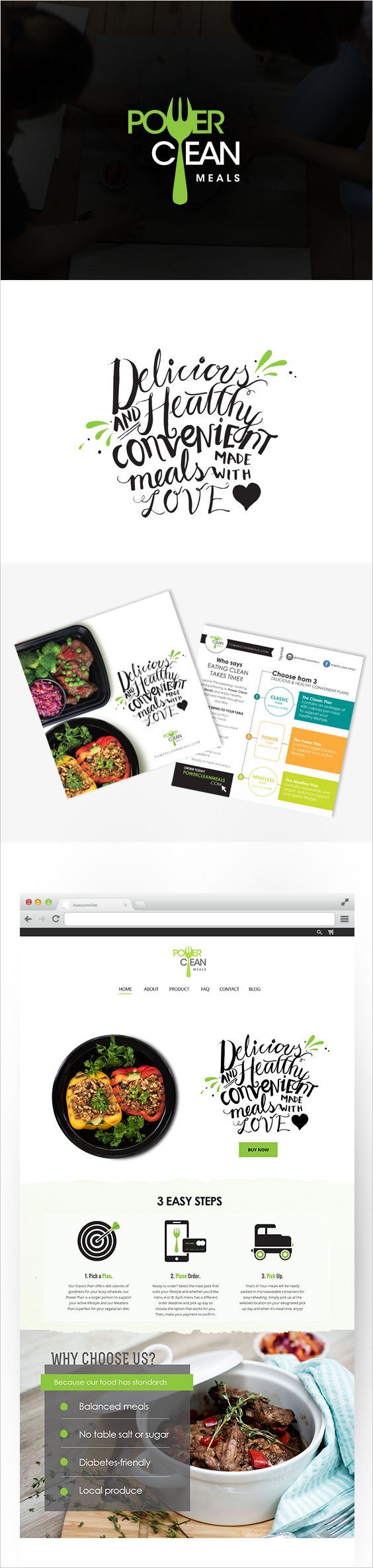 Logo, postcard, handlettered tagline and website done for this Toronto based meal delivery service by Clarice Gomes