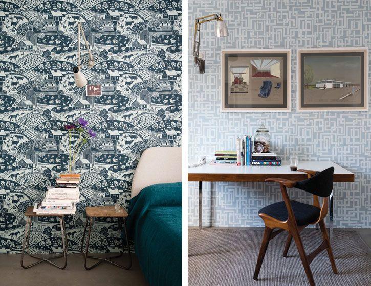tapeten im midcentury design von farrow ball home sweet home pinterest. Black Bedroom Furniture Sets. Home Design Ideas